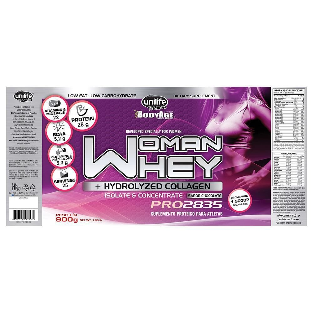 ccefe7a26 ... Kit 2 Whey Protein Woman c  Colageno 900g Chocolate Unilife - Imagem 3