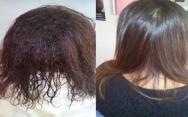 antes e depois progressiva therapy liss da sorali