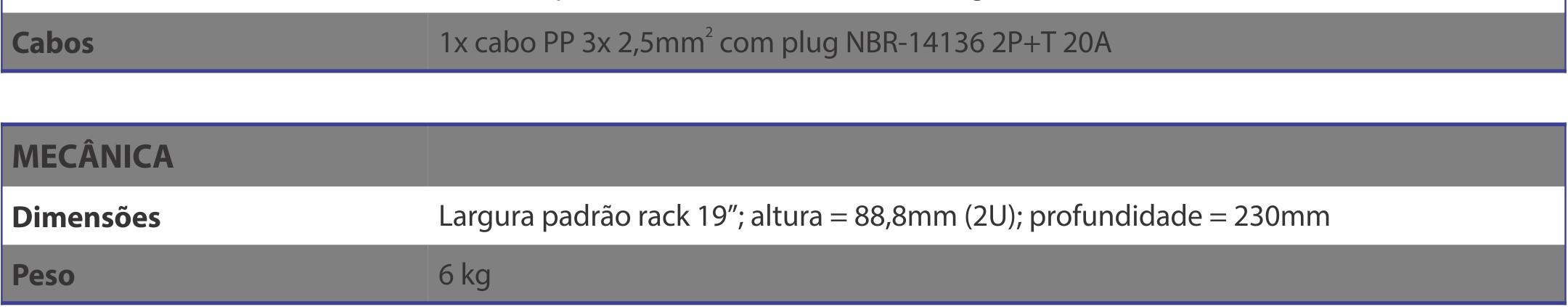 Amplificador NEXT PRO R3 Especificações Tecnicas