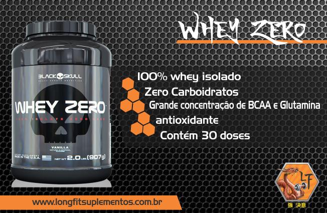 28635bc591 Whey Zero de 907g da Black Skull USA é formulado com 100% whey protein  isolado