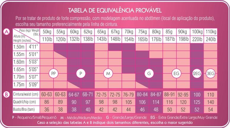 Cinta Calcinha Fio Dental Calça Maravilha Esbelt - tabela