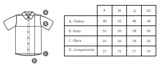 Tabela de Medidas Camisa Estampada Xadrez