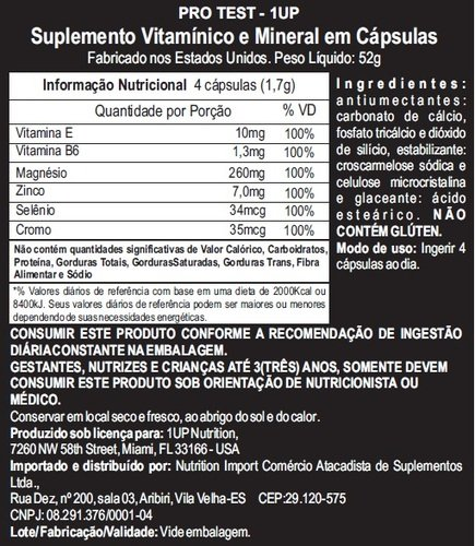 Pro Test Suplemento 1up Nutrition