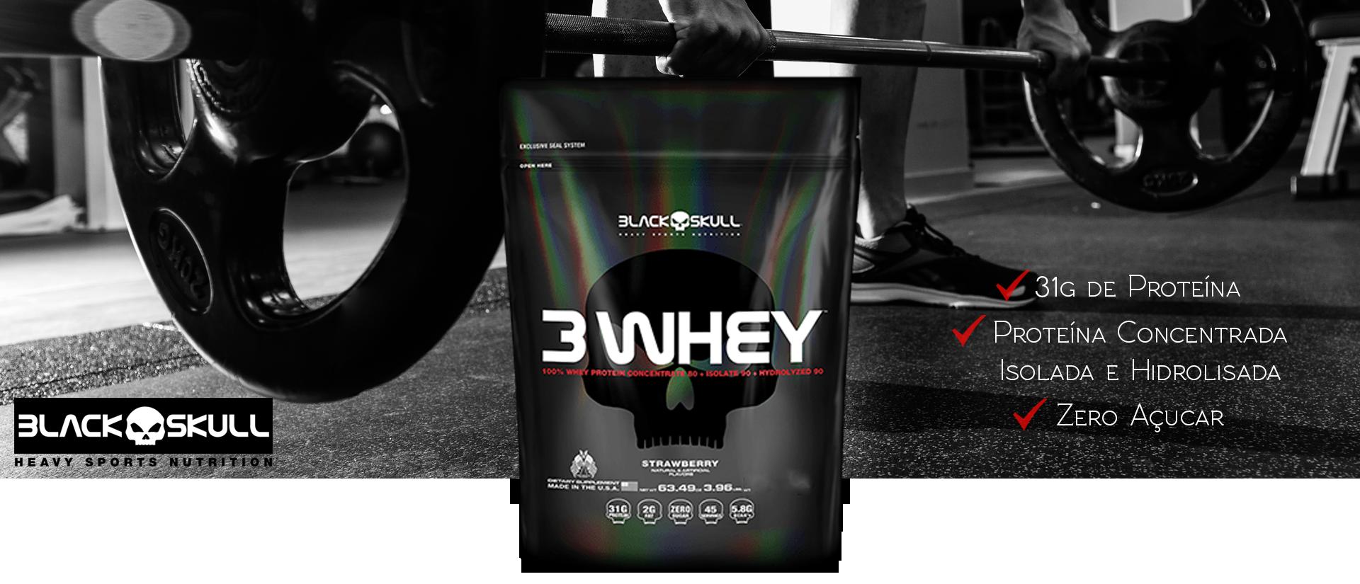 3 Whey Black Skull Banner - Suplemento Whey Protein 3w