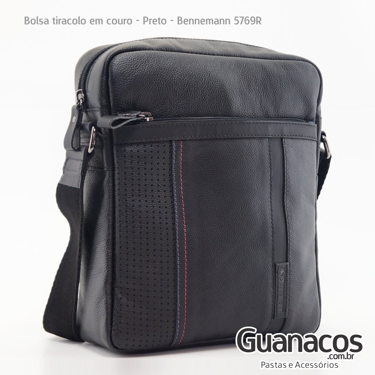 c3cd41341 Pasta Carteiro Tiracolo Compacta - Preta - Couro - 5769R - Bennemann ...