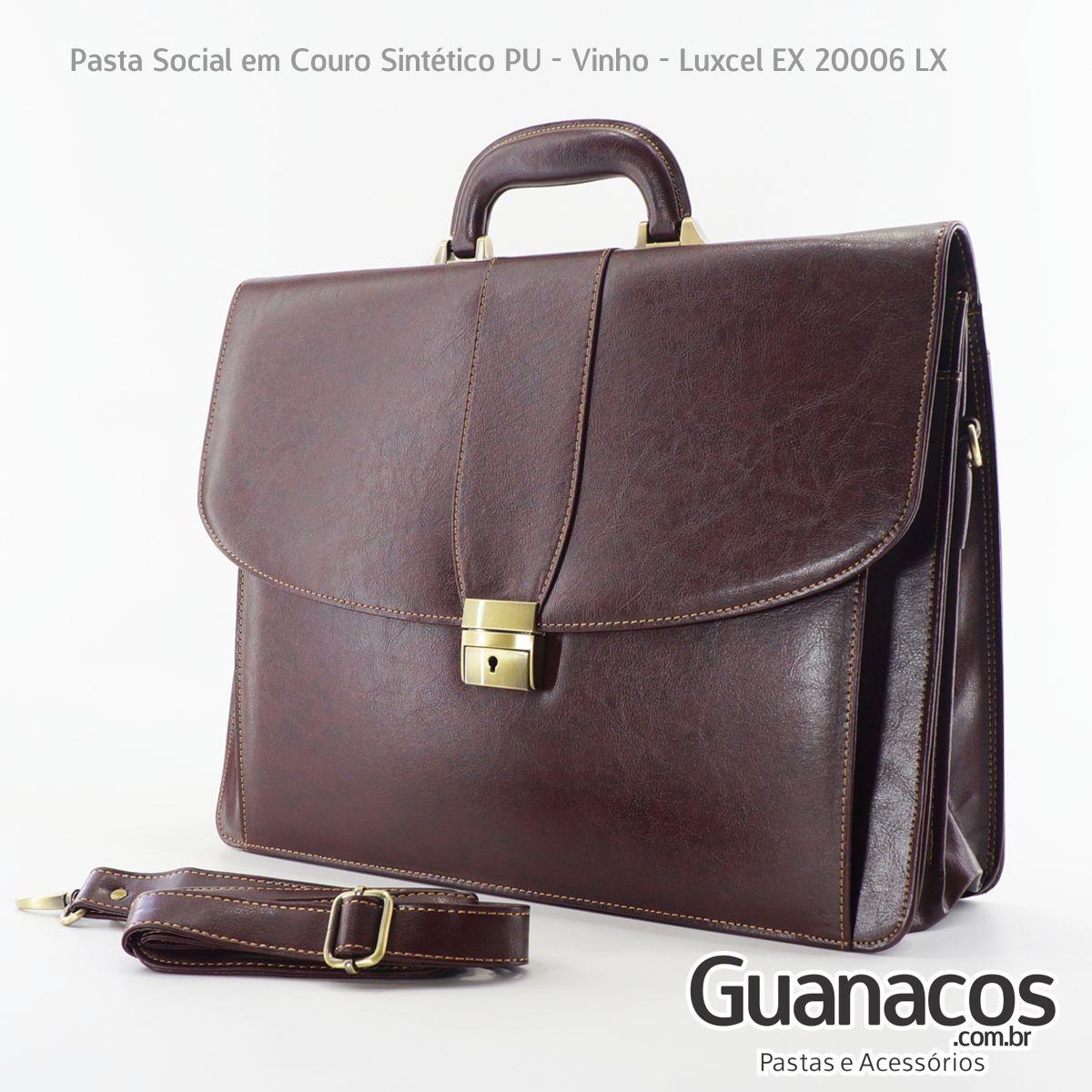 Maleta Executiva para Notebook 15 Polegadas em Couro Vintage com Alça - Luxcel EX20007