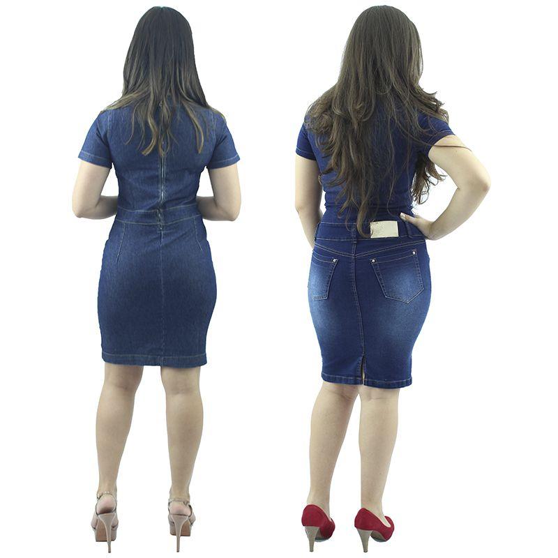 edc0f1a21 Combo de 2 Vestidos Jeans Moda Evangélica Anagrom - Anagrom - Loja ...