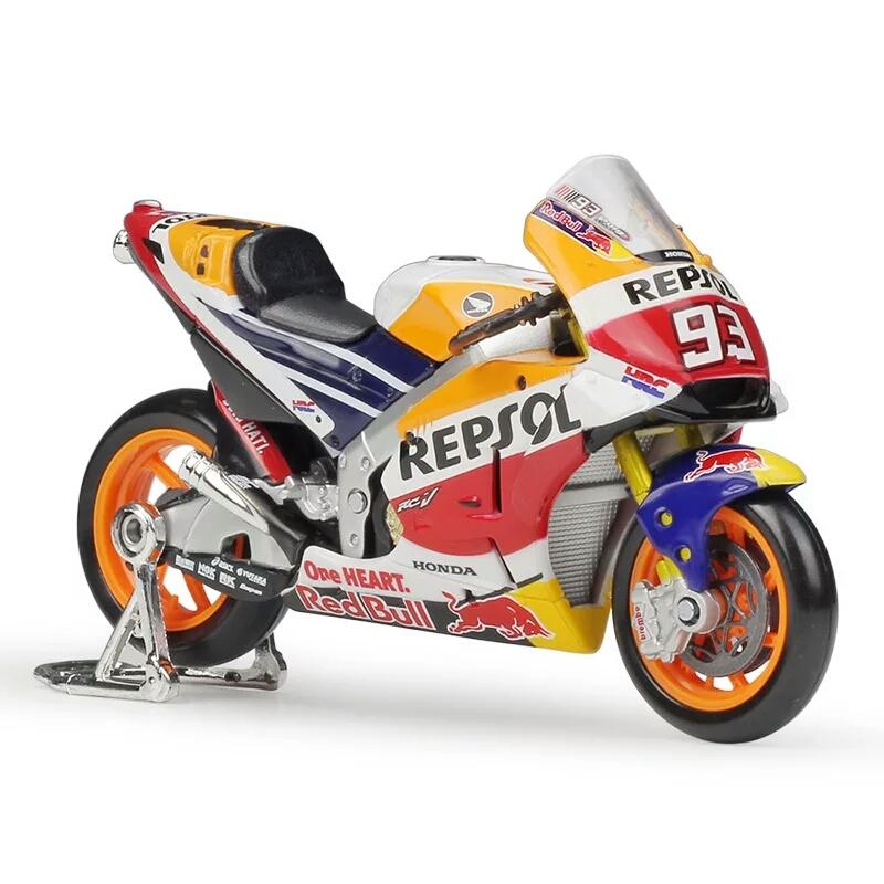 Miniatura Honda temporada 2018 MotoGP Piloto Marc Marquez #93 fabricante Maisto na escala 1:18.