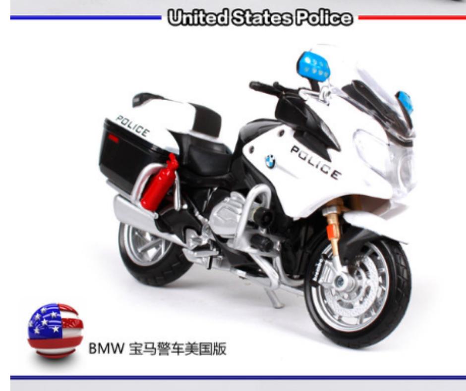Miniatura de moto bmw r 1200 rt polícia dos estados unidos