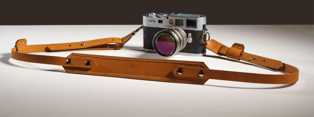 Alça para Câmera Fotográfica em couro Caramelo.
