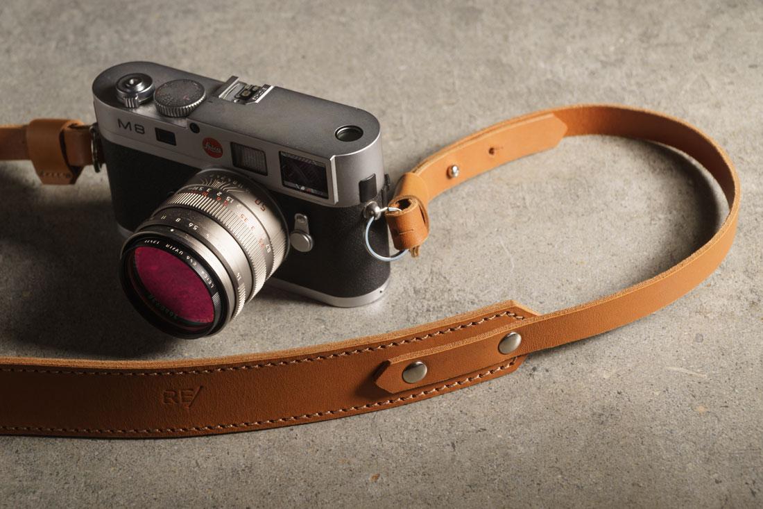 Camera Strap em couro Caramelo.