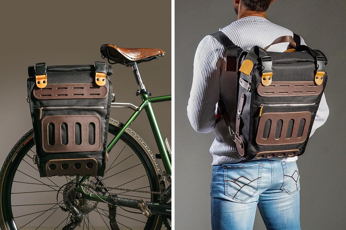 Pode ser usado como alforje na bike ou como mochila nas costas, alternando facilmente entre um e outro.