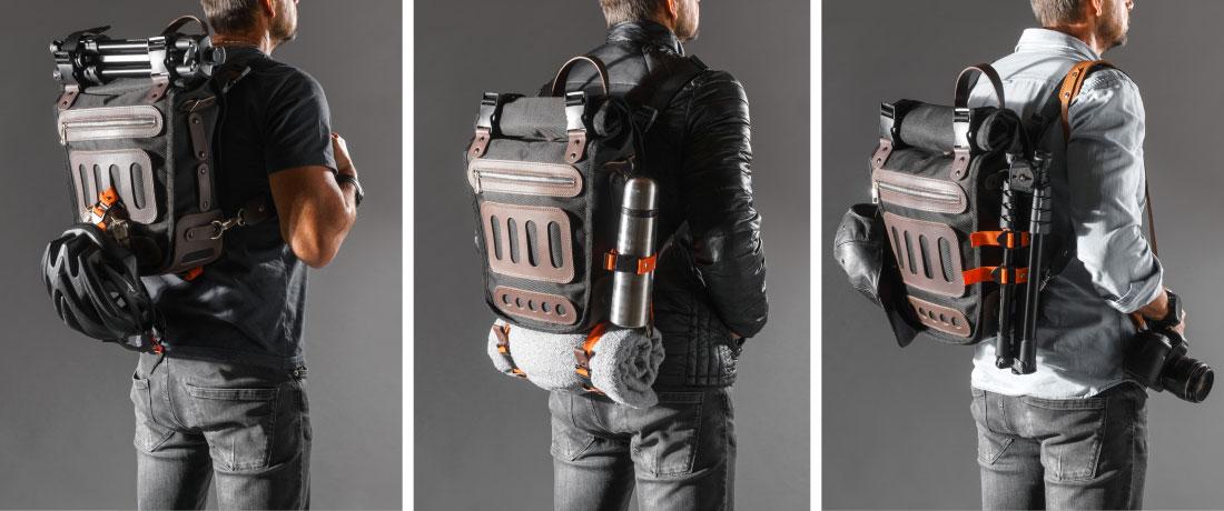 Carregue os mais diversos itens acoplados à sua mochila: capacete de bicicleta, tripé fotográfico, cantil, chapéu, cobertor, saco de dormir e o que mais precisar.