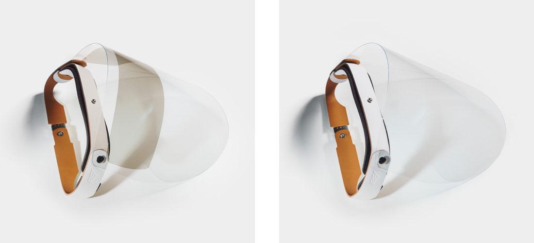 Escudo Facial Esporte em couro branco com viseira com proteção solar UV ou viseira transparente.