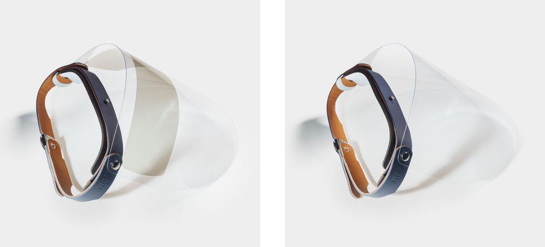 Escudo Facial Esporte em couro azul com viseira com proteção solar UV ou viseira transparente.