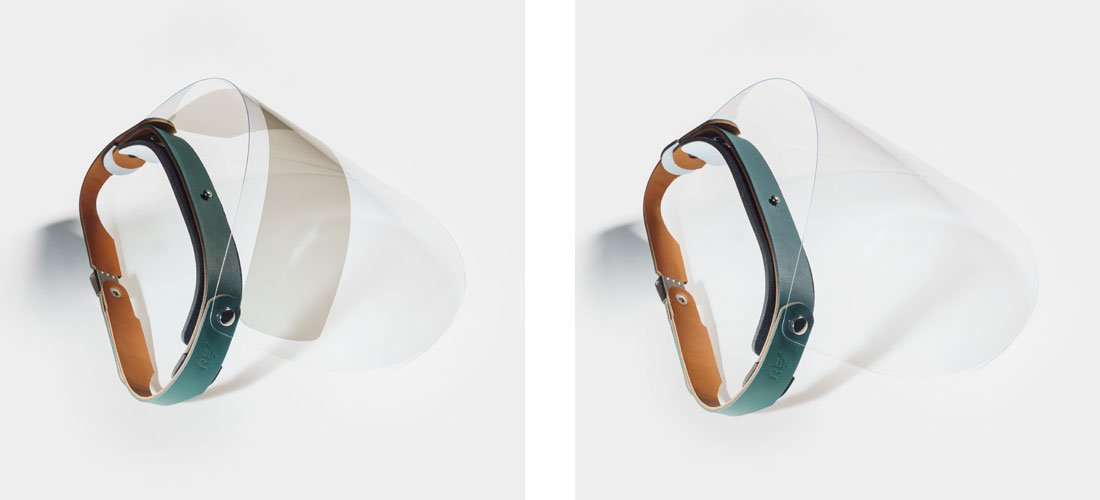 Escudo Facial Esporte em couro verde com viseira com proteção solar UV ou viseira transparente.
