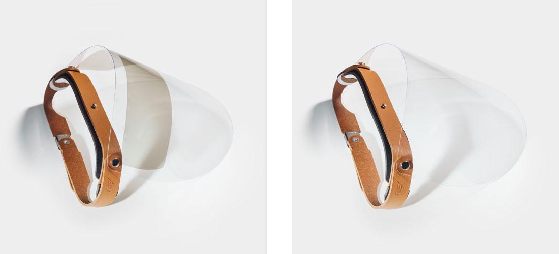 Escudo Facial Esporte em couro caramelo com viseira com proteção solar UV ou viseira transparente.