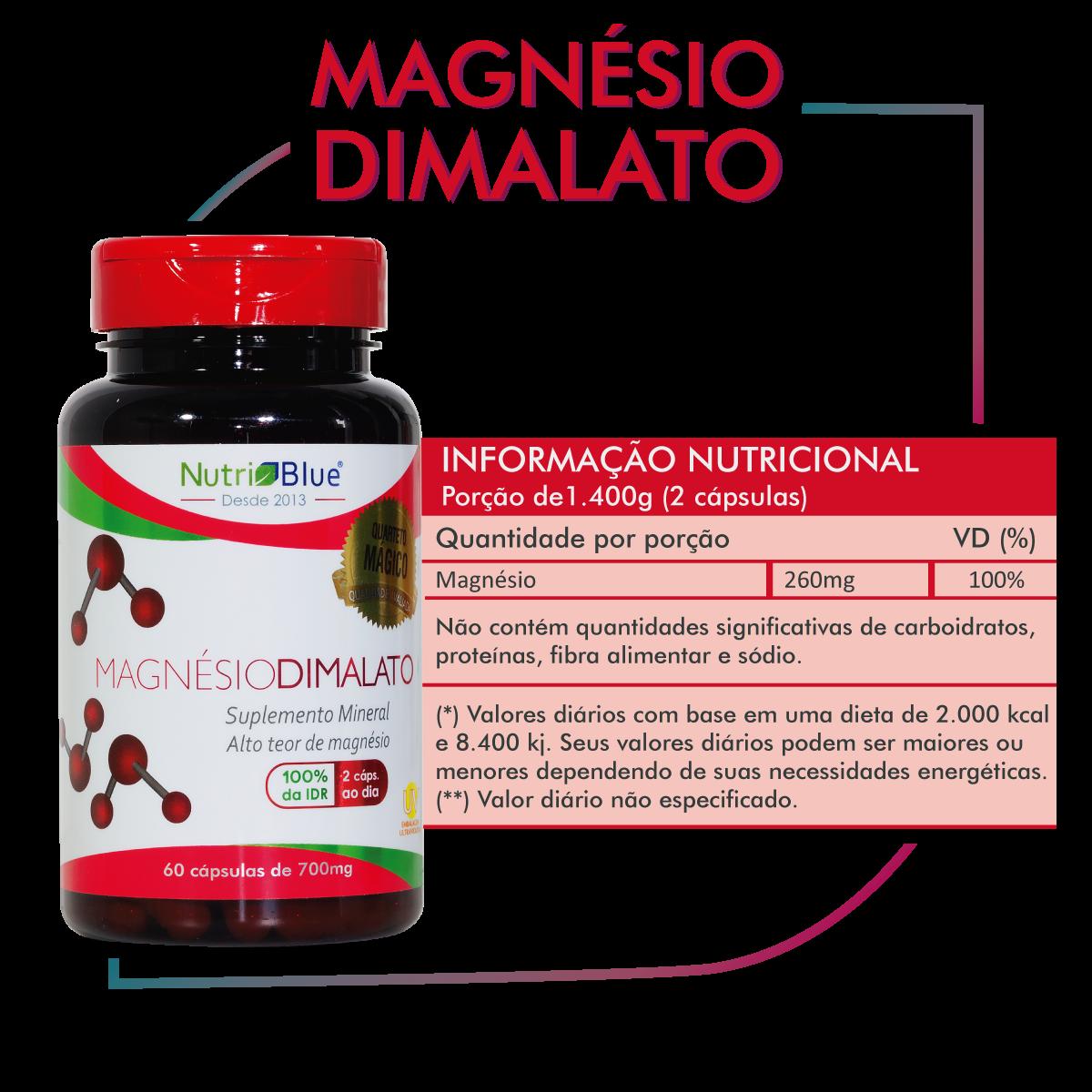 Magnésio Dimalato 700mg Nutriblue