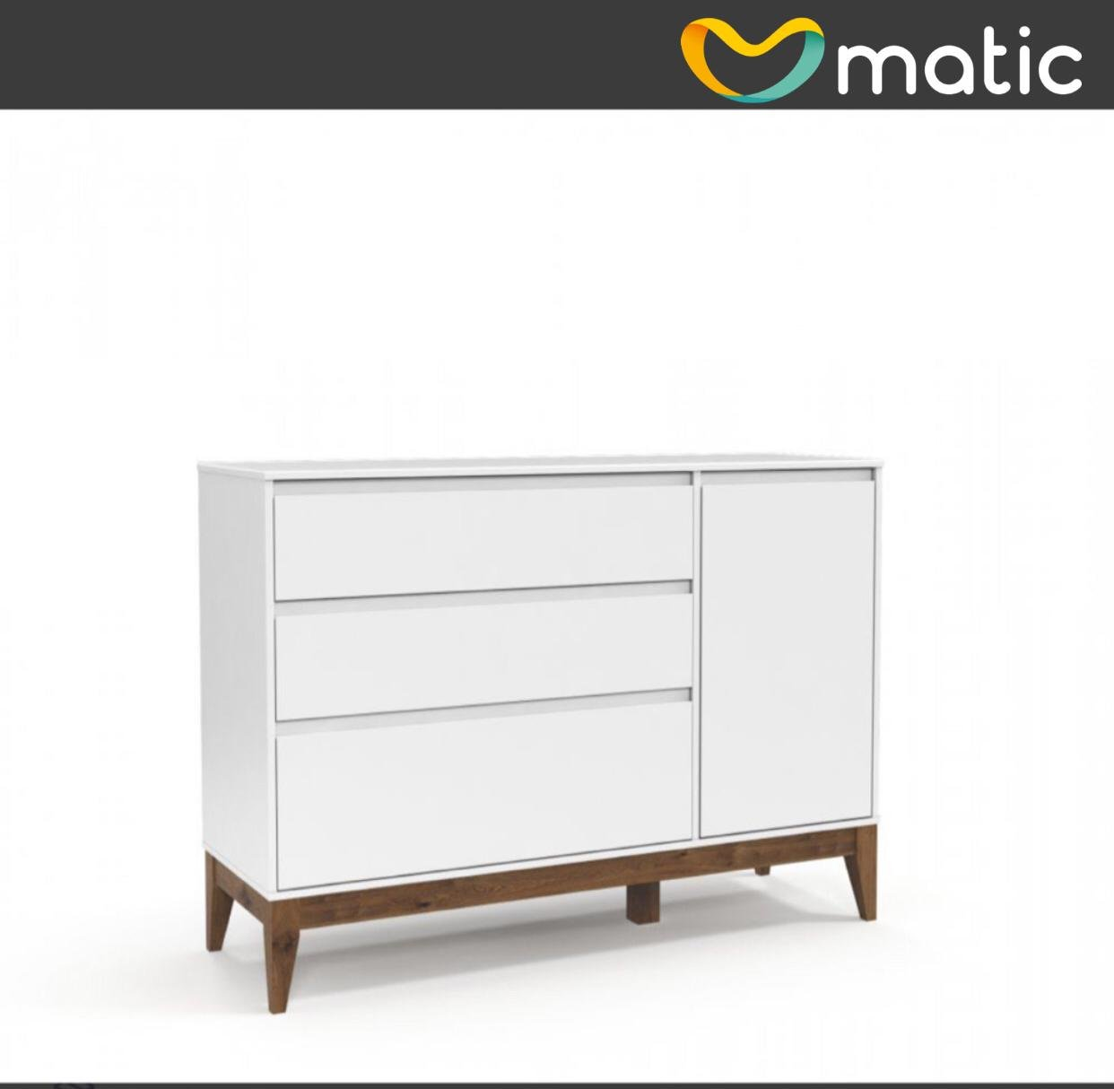 Cômoda Nature Clean com Porta Branco Soft com Eco Wood - Matic Móveis
