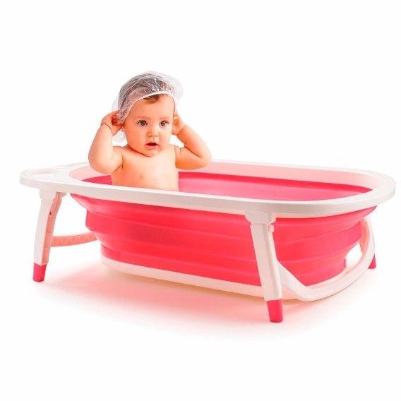 Banheira Dobrável Flexi Bath Rosa Multikids Baby