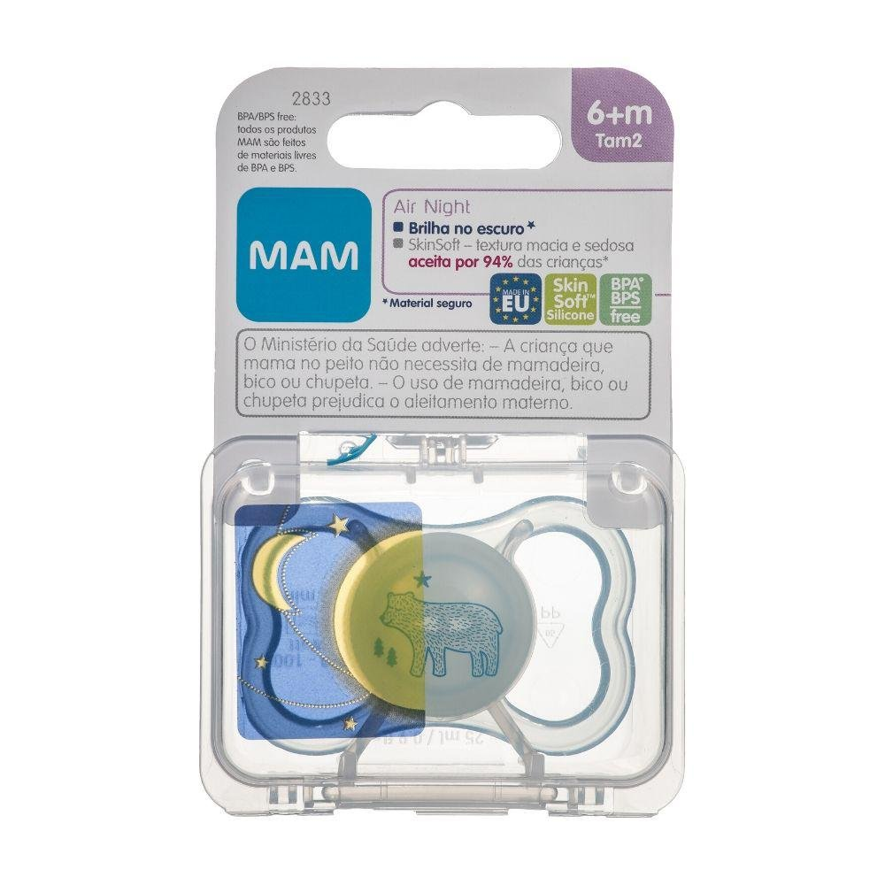 Chupeta Air Night 6 Meses Azul Single Box - MAM