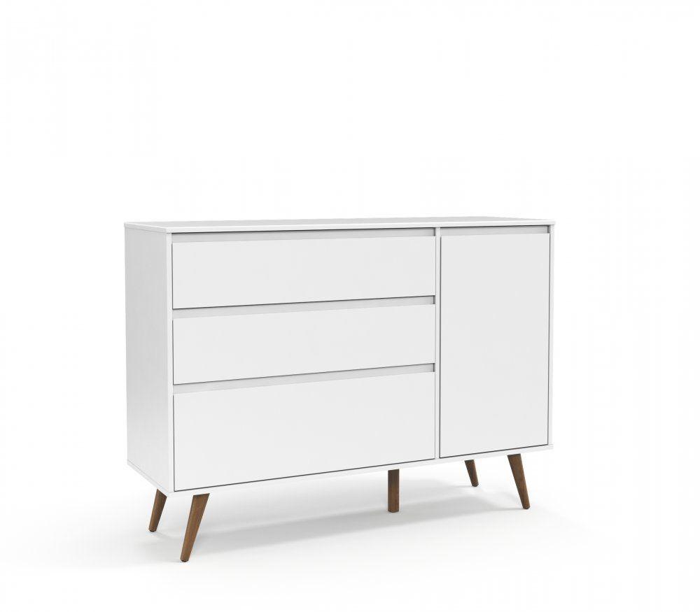 Cômoda Retrô Clean com Porta Branco Soft com Eco Wood - Matic Móveis