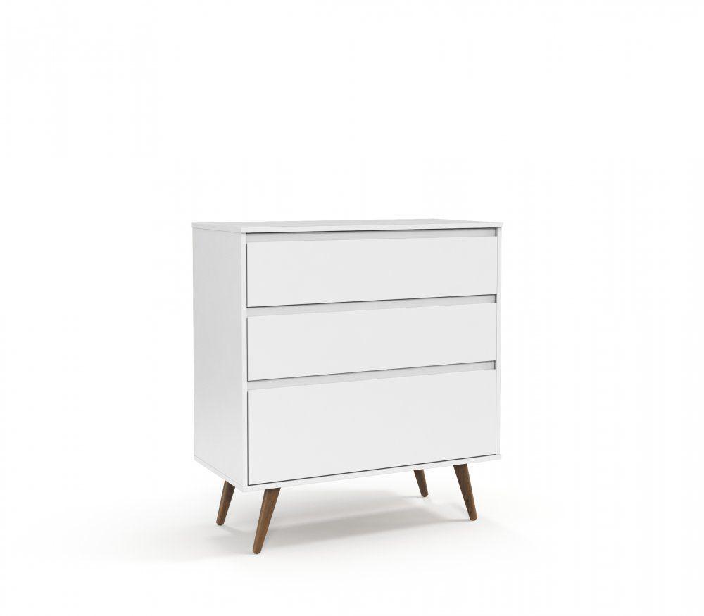 Gaveteiro Retrô Clean Branco Soft com Eco Wood - Matic Móveis