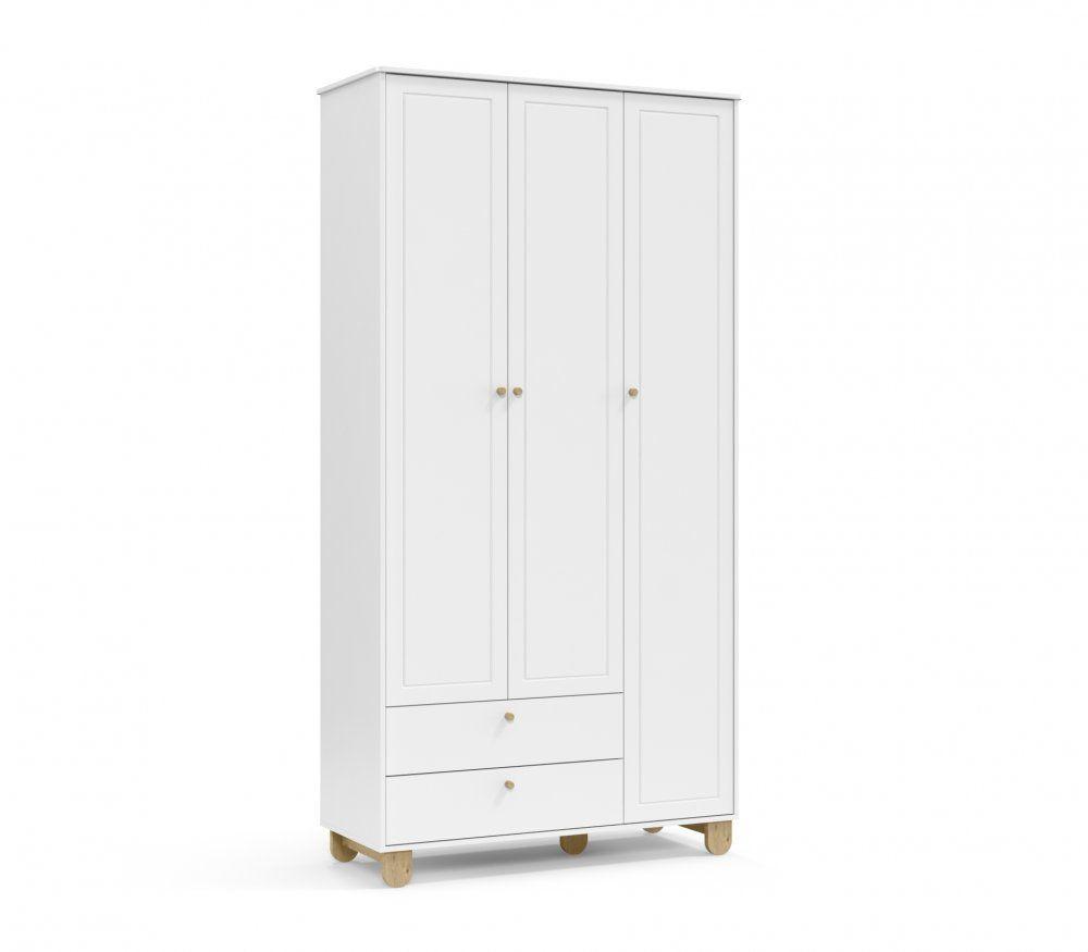 Roupeiro 3 portas Branco Soft/Natural Matic Móveis