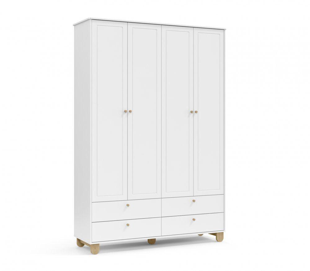 Roupeiro 4 portas Branco Soft/Natural Matic Móveis