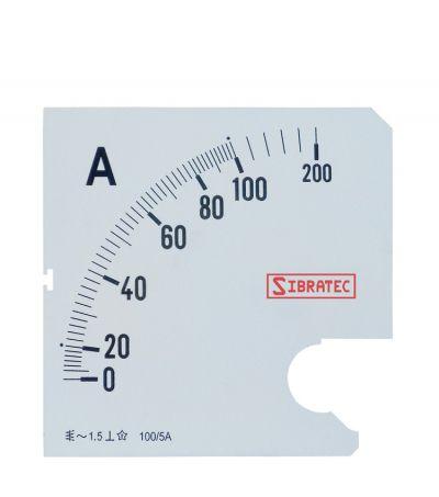 Escala para Amperimetro 72MM 0-100A