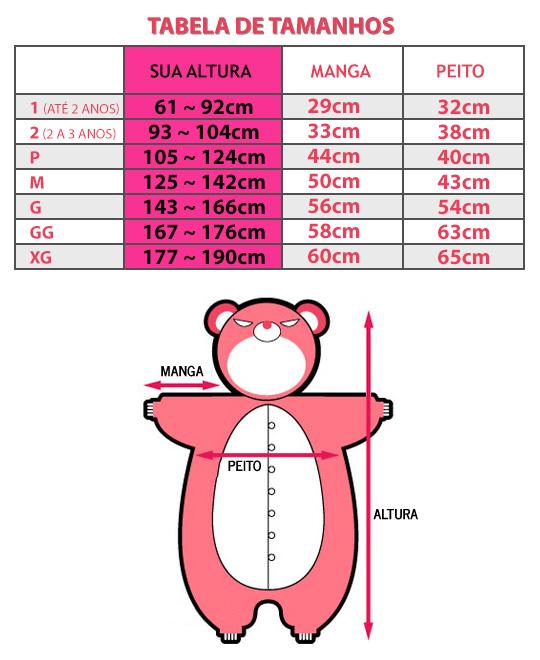 Tabela de Medidas - Kigurumi Brasil
