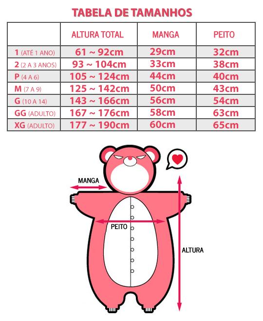 Tabela de tamanhos - Kigurumi Brasil