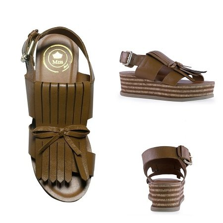 sandália flatform feminina marrom