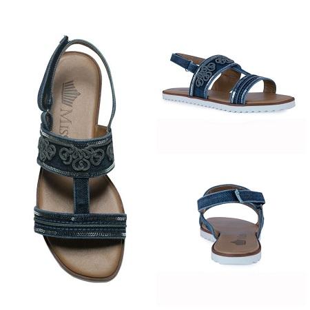 Sandália rasteira jeans flat