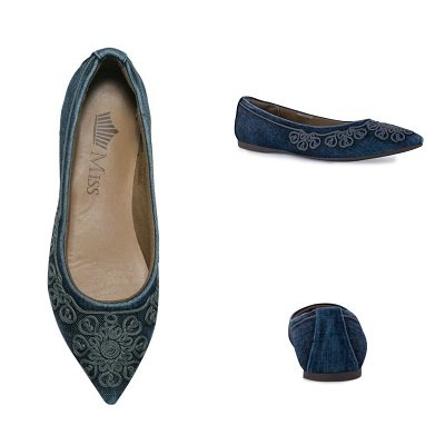 3215b9b86 Sapatilha Jeans Bico Fino Bordada - Miss Shoes Loja de Calçados ...