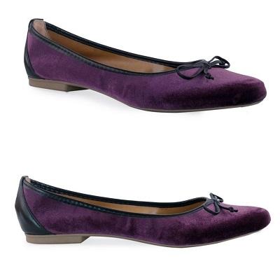 Sapatilha de Veludo Bico Fino Violeta