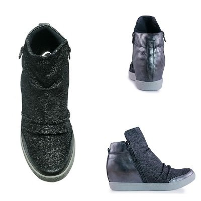 Tênis sneaker cano alto feminino com ziper lateral onix