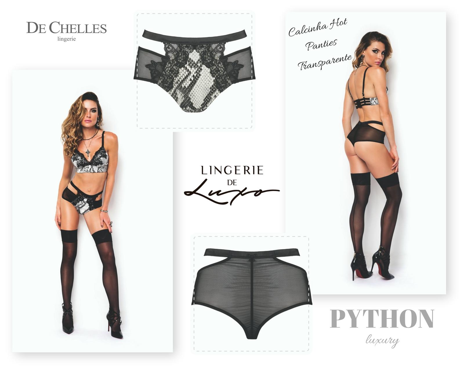 Calcinha Hot Panties Transparente Python Luxury