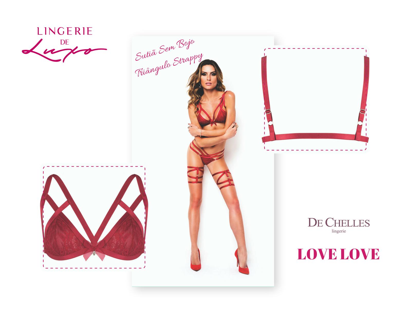 d40dabdc1 Sutiã Sem Bojo Triângulo Strappy Love Love - Lingerie de Luxo