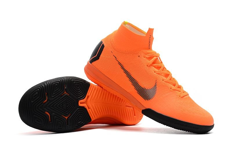a02b8ad0d1e53 ... Chuteira Nike Futsal Cano Alto Superfly X VI Elite Laranja e Preta -  Imagem 4 ...