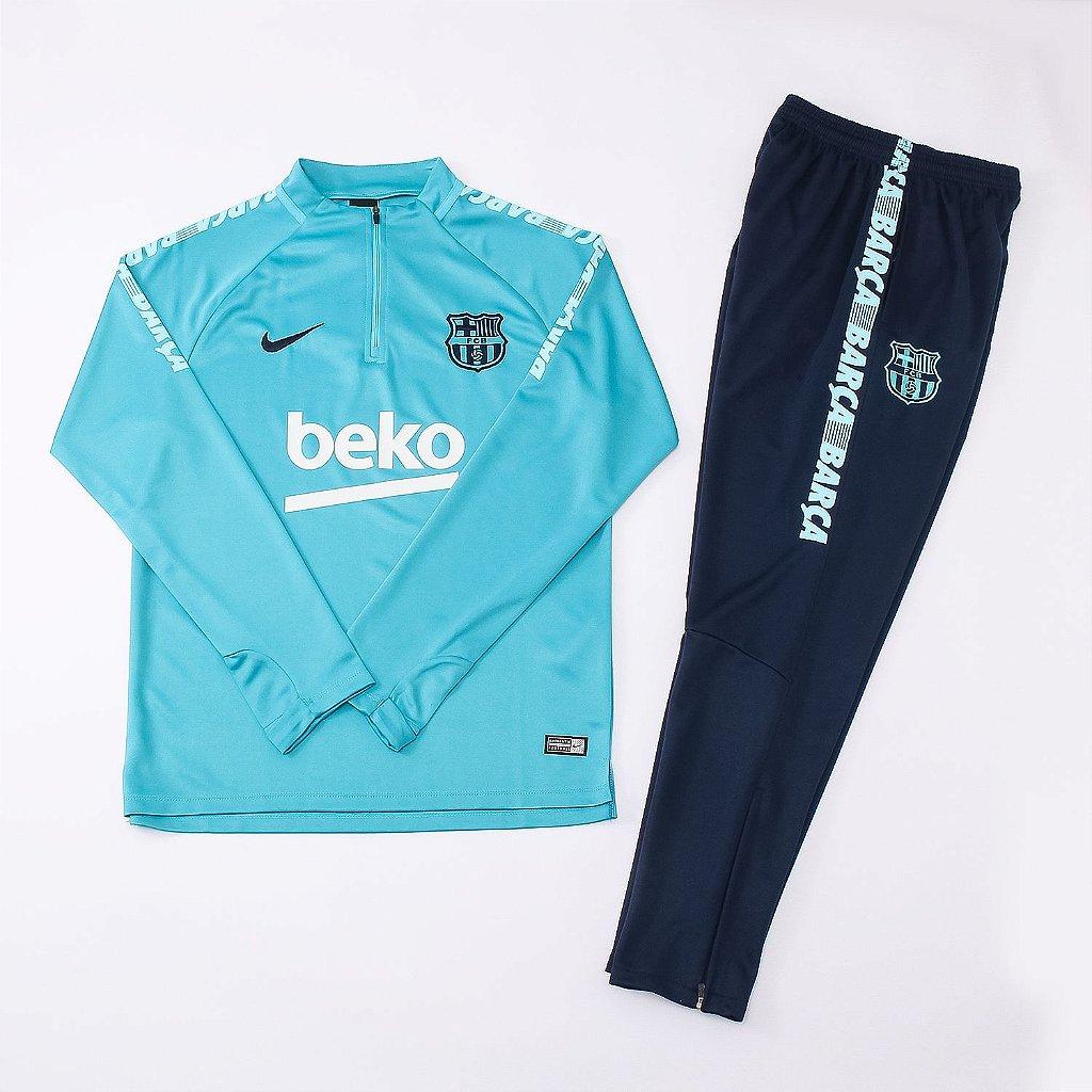1a8c5e265d ... Conjunto Barcelona Casaco Calça Treino 2019 - 20 Azul Branco Beko Nike  - Imagem 2 ...