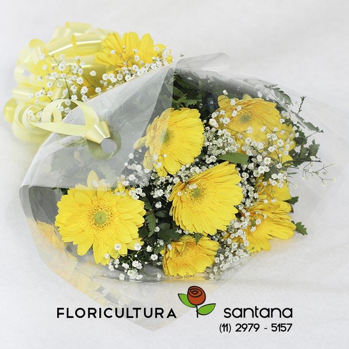 Buquê Gérberas Amarelas foto frente