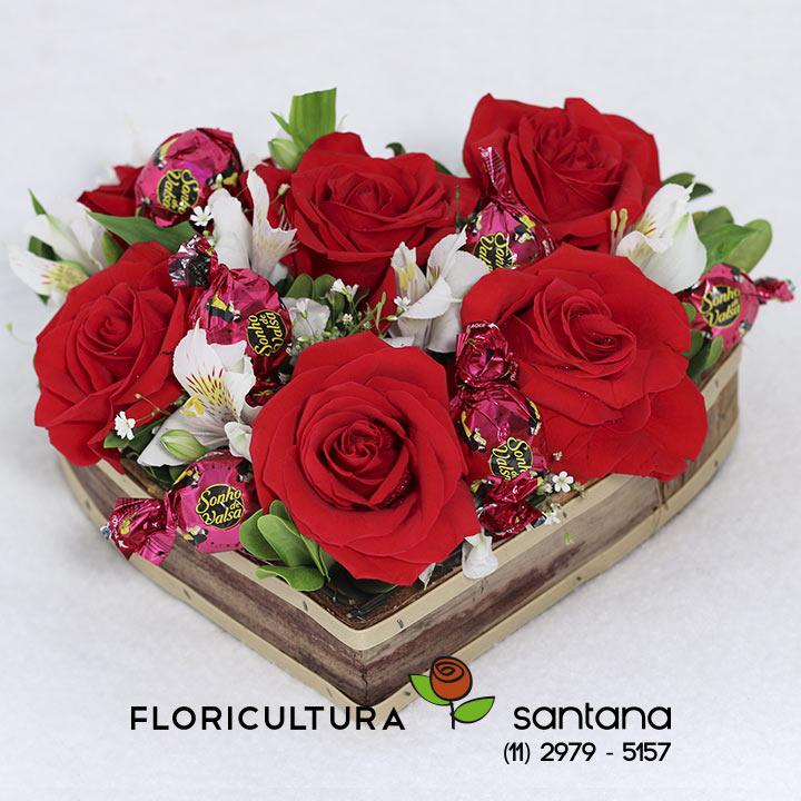 coração de rosas para presente