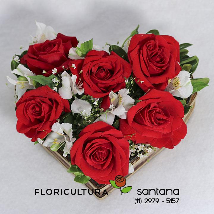 Coração Rosas presente
