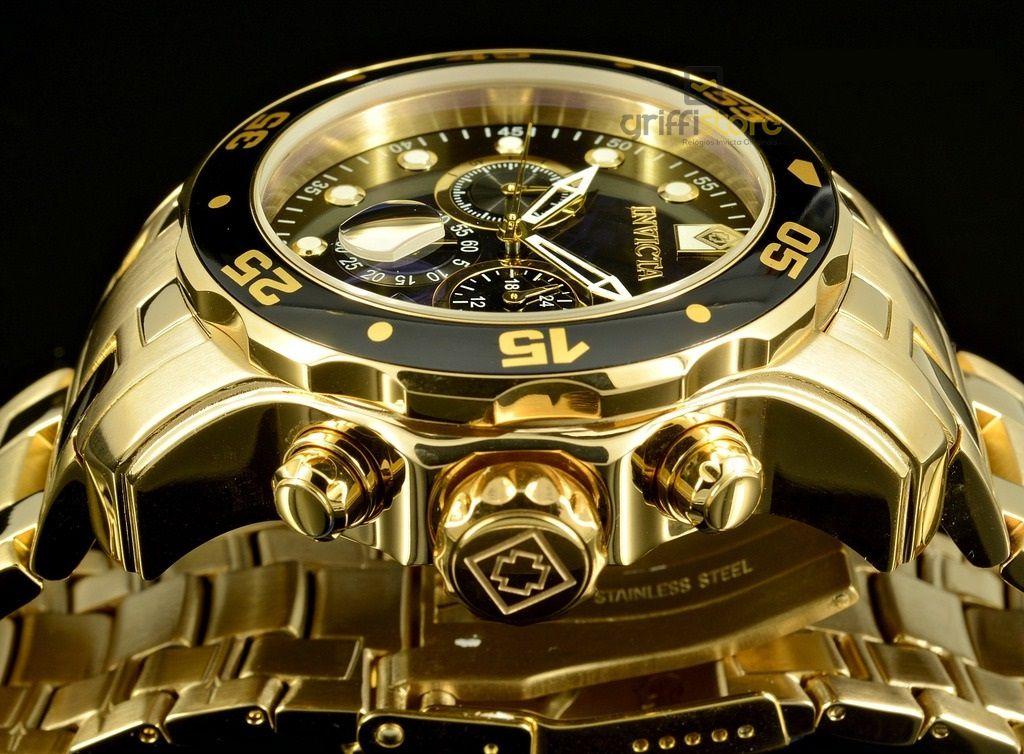 f7dcac700e9 ... Relógio Invicta Pro Diver 0072   21922 Banhado Ouro 18k Cronografo 48mm  - Imagem 5 ...