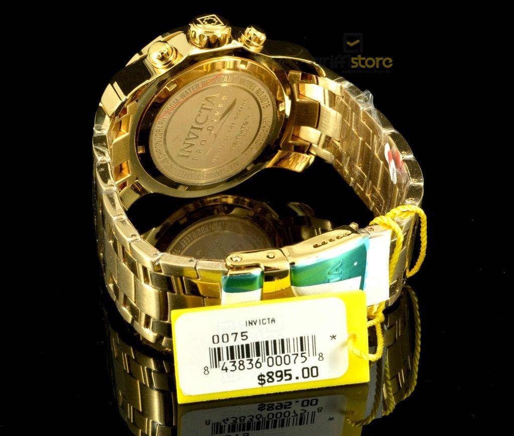 cb340ac8f52 ... Relógio Invicta Pro Diver 0075   21925 Banhado Ouro 18k Cronografo 48mm  - Imagem 3 ...