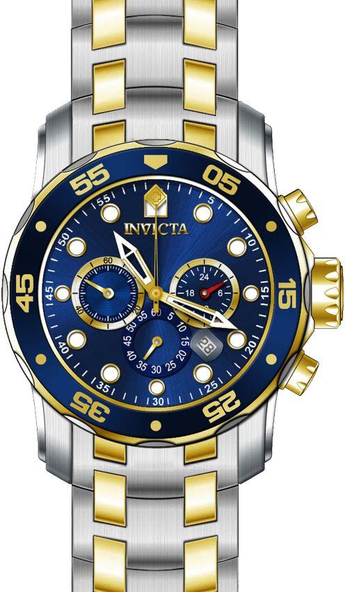 dd6f46c8527 ... Relógio Invicta Pro Diver 0077 Misto Aço Inox com Banhado Ouro 18k  Cronografo 48mm - Imagem ...