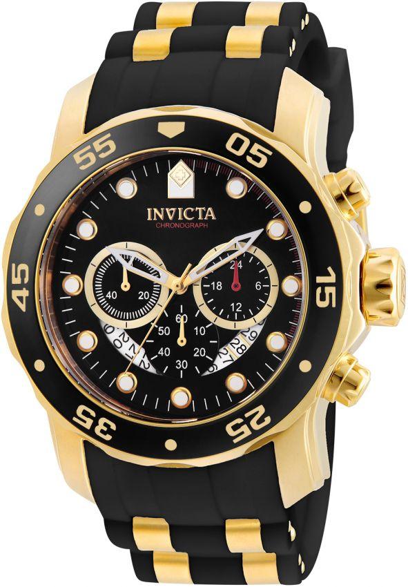 50303a3e632 Relógio Invicta Pro Diver 6981 Banhado Ouro 18k Pulseira em Borracha  Cronografo 48mm