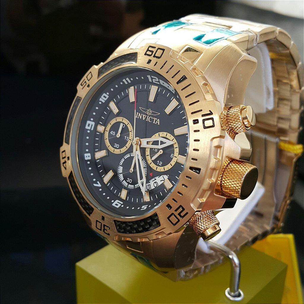 b962a4c1b51 ... Relógio Invicta Pro Diver 24855 Banhado Ouro 18k Cronografo 51mm -  Imagem 4