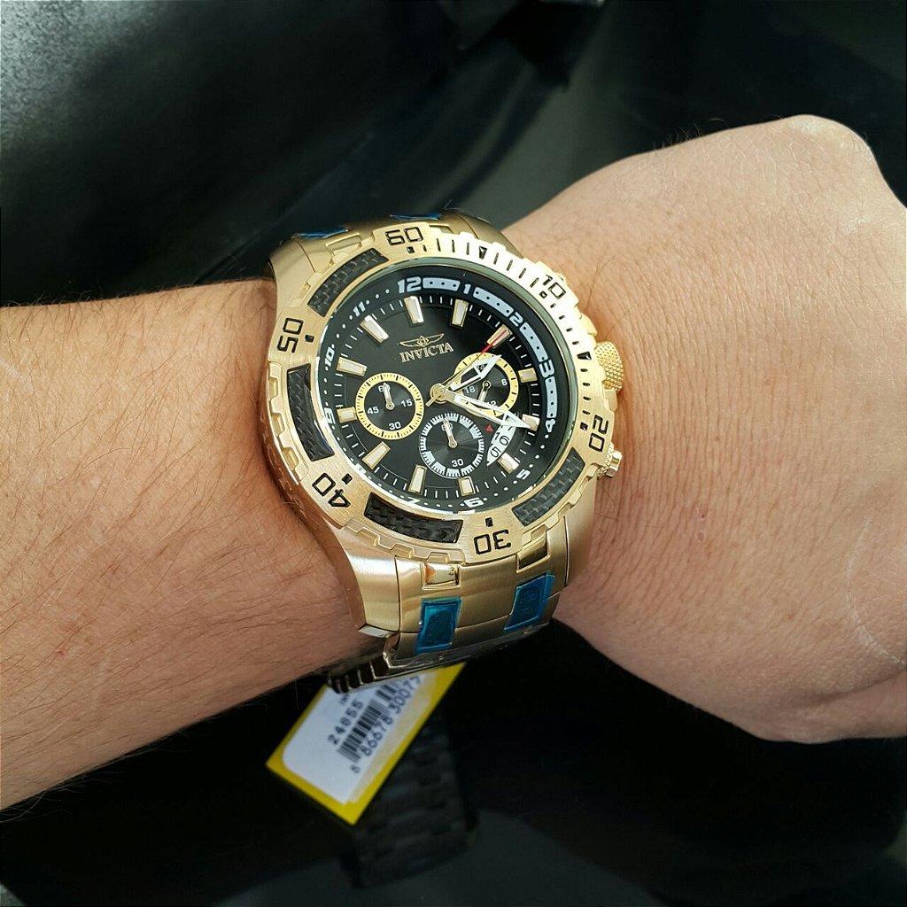 57747002414 ... Relógio Invicta Pro Diver 24855 Banhado Ouro 18k Cronografo 51mm -  Imagem 3 ...